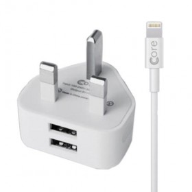 Core Dual Port USB Apple Mains Charger w/ Lightning Cable – White